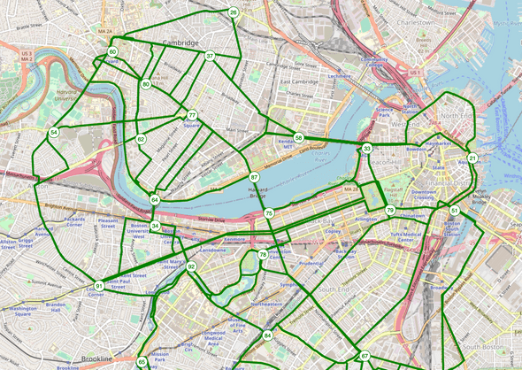 Map of Boston. Key intersections are numbered. There are highlighted routes between those intersections.