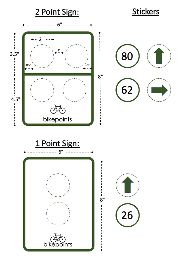"bike point sign designs. Both signs are the same 6"" x 8"" size. One sign has two rows, with 4 corresponding stickers. The other sign has no rows, and two vertical positions for stickers."